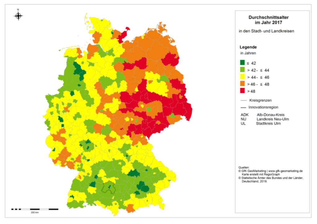 Graph of average age in Germany